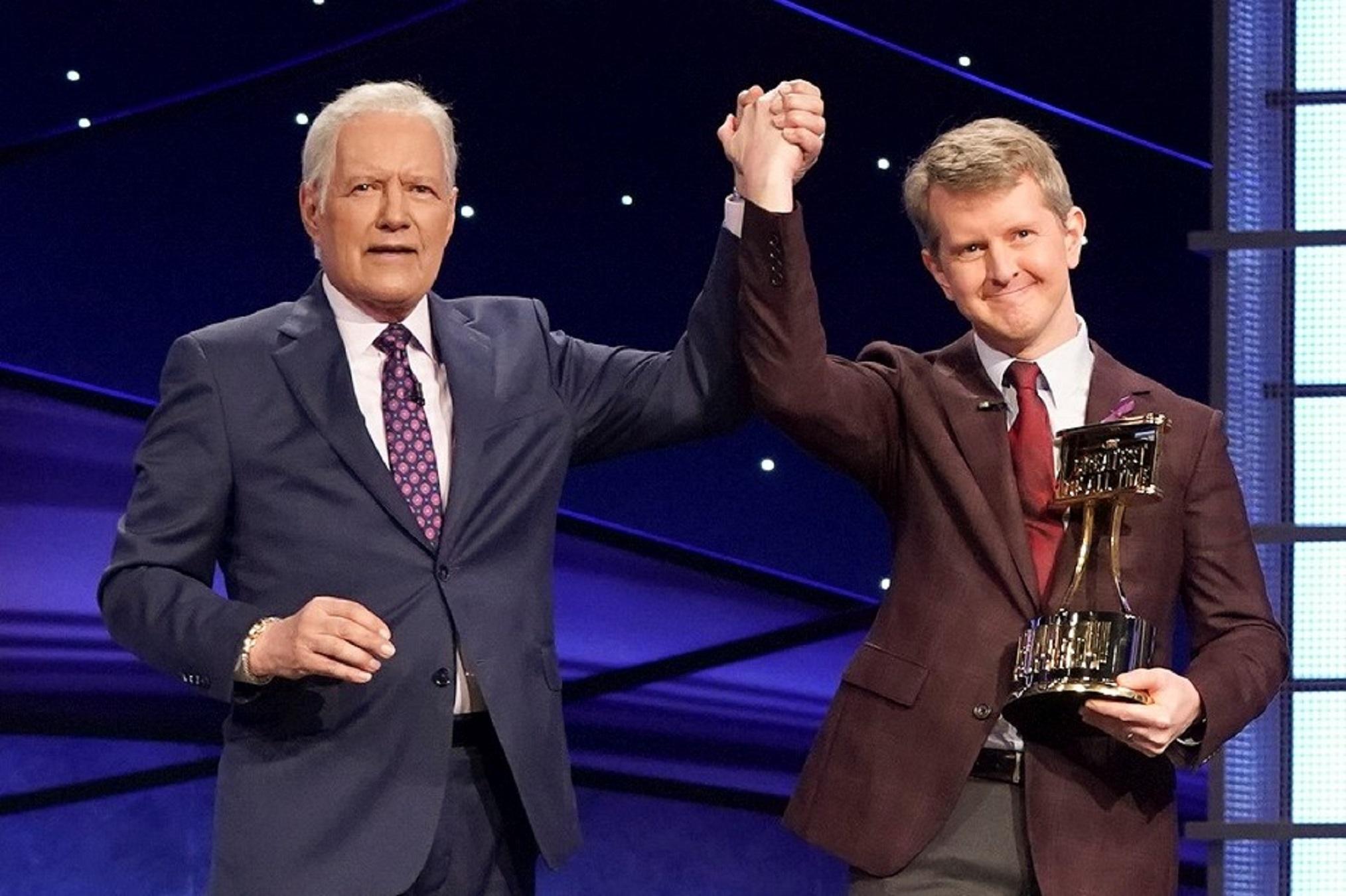 As 'Jeopardy!' guest host, Ken Jennings celebrities Alex Trebek in between 1st episode